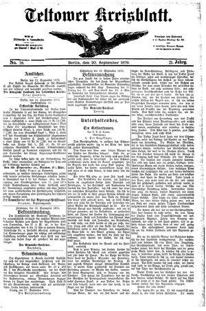 Teltower Kreisblatt vom 20.09.1876