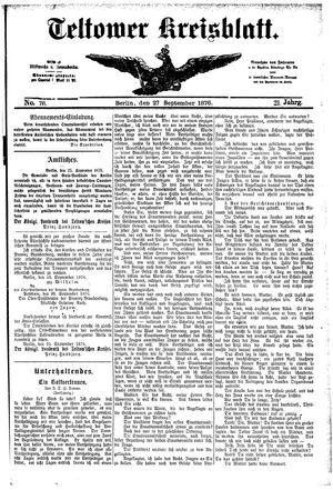 Teltower Kreisblatt vom 27.09.1876
