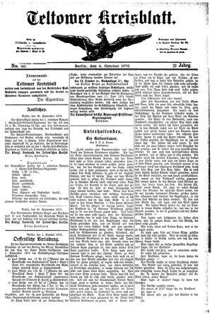 Teltower Kreisblatt vom 04.10.1876