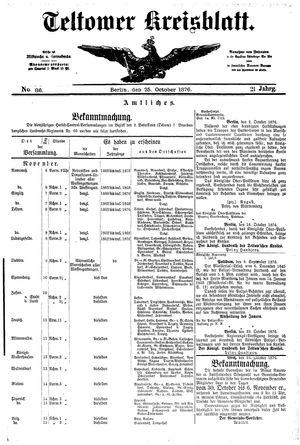 Teltower Kreisblatt vom 25.10.1876