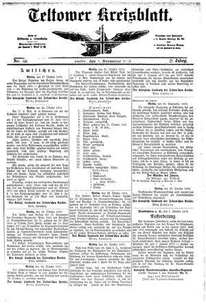 Teltower Kreisblatt vom 01.11.1876
