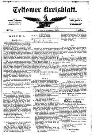 Teltower Kreisblatt vom 08.11.1876