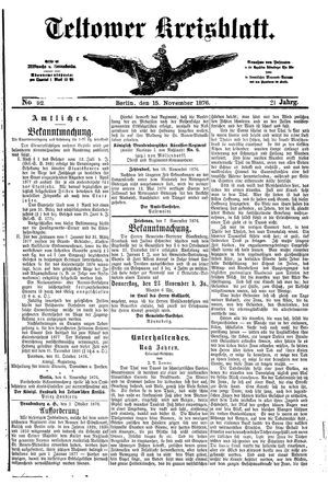 Teltower Kreisblatt vom 15.11.1876