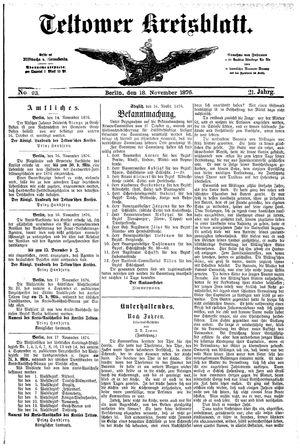 Teltower Kreisblatt vom 18.11.1876
