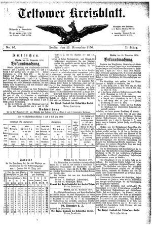 Teltower Kreisblatt vom 25.11.1876