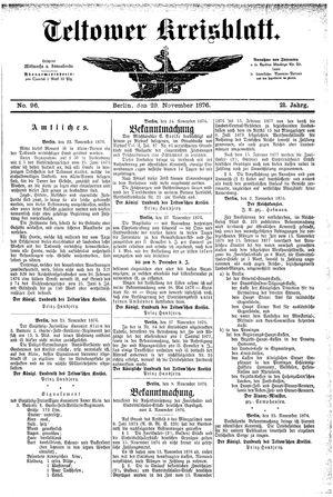 Teltower Kreisblatt vom 29.11.1876