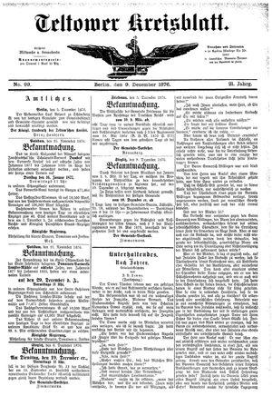 Teltower Kreisblatt vom 09.12.1876