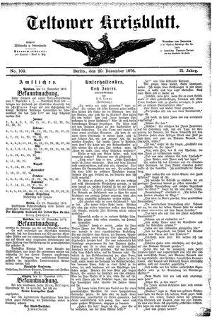 Teltower Kreisblatt vom 20.12.1876