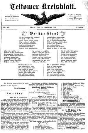 Teltower Kreisblatt vom 23.12.1876
