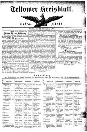 Teltower Kreisblatt vom 29.12.1876