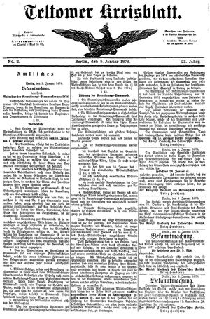 Teltower Kreisblatt vom 05.01.1878