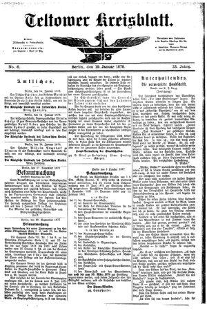 Teltower Kreisblatt vom 19.01.1878