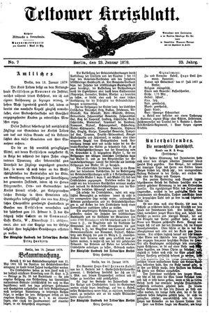 Teltower Kreisblatt vom 23.01.1878