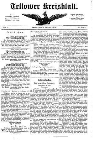 Teltower Kreisblatt vom 06.02.1878