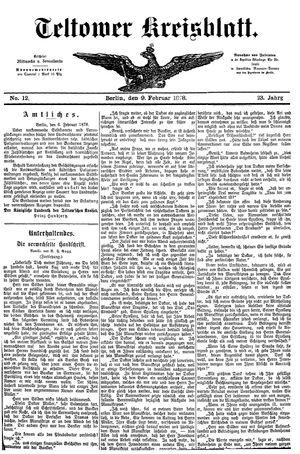 Teltower Kreisblatt vom 09.02.1878