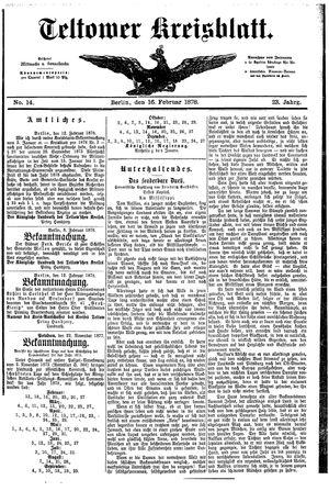 Teltower Kreisblatt vom 16.02.1878
