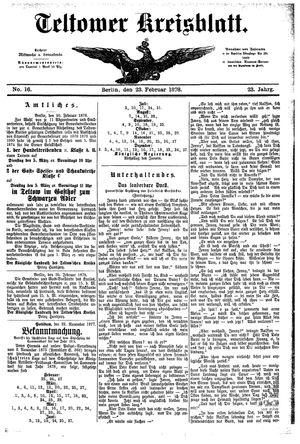 Teltower Kreisblatt vom 23.02.1878