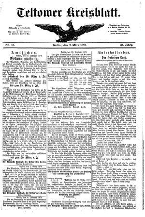 Teltower Kreisblatt vom 02.03.1878