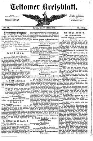 Teltower Kreisblatt vom 27.03.1878