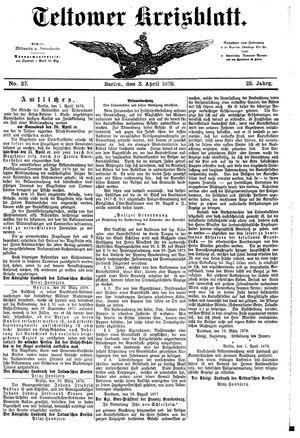 Teltower Kreisblatt vom 03.04.1878
