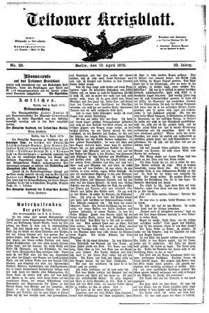 Teltower Kreisblatt on Apr 10, 1878