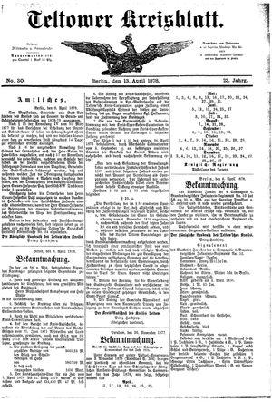 Teltower Kreisblatt vom 13.04.1878