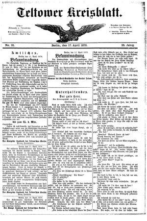 Teltower Kreisblatt vom 17.04.1878