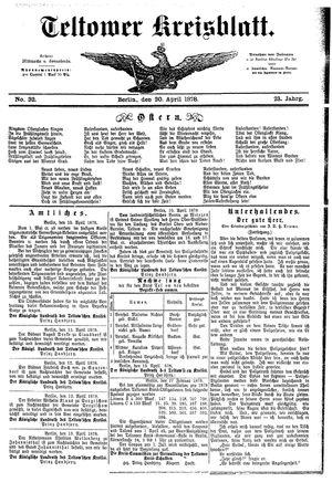 Teltower Kreisblatt vom 20.04.1878