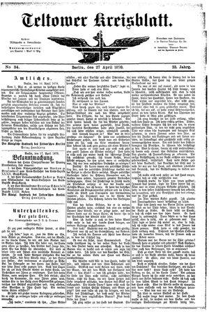 Teltower Kreisblatt vom 27.04.1878