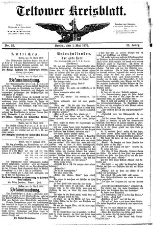 Teltower Kreisblatt vom 01.05.1878