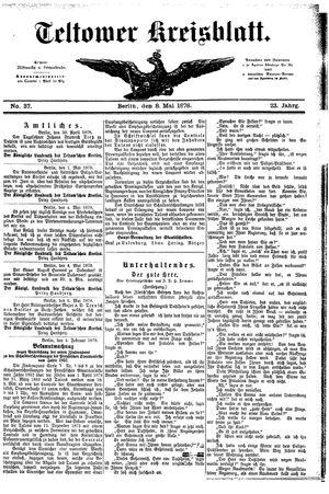 Teltower Kreisblatt vom 08.05.1878