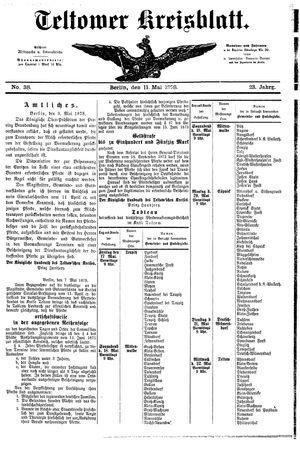 Teltower Kreisblatt vom 11.05.1878