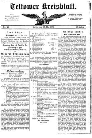 Teltower Kreisblatt vom 25.05.1878