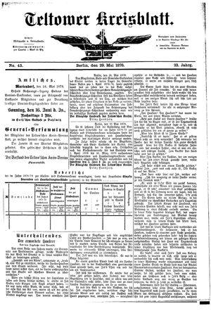 Teltower Kreisblatt vom 29.05.1878
