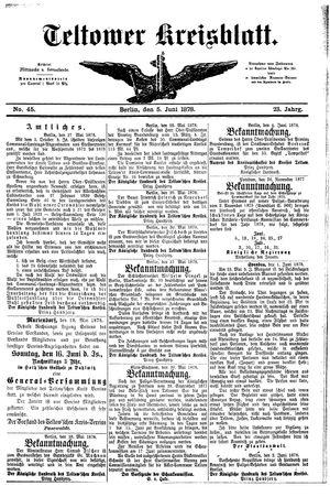 Teltower Kreisblatt vom 05.06.1878