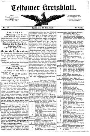 Teltower Kreisblatt vom 12.06.1878