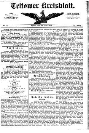 Teltower Kreisblatt vom 29.06.1878
