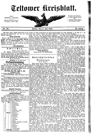 Teltower Kreisblatt vom 03.07.1878