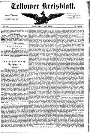 Teltower Kreisblatt vom 06.07.1878