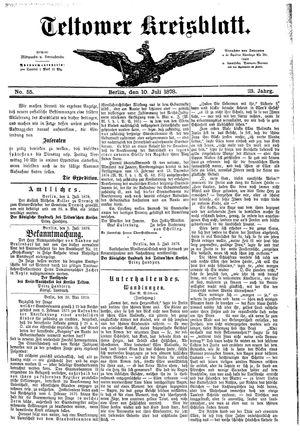 Teltower Kreisblatt vom 10.07.1878