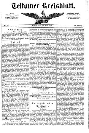 Teltower Kreisblatt vom 17.07.1878