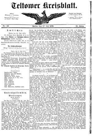 Teltower Kreisblatt vom 27.07.1878
