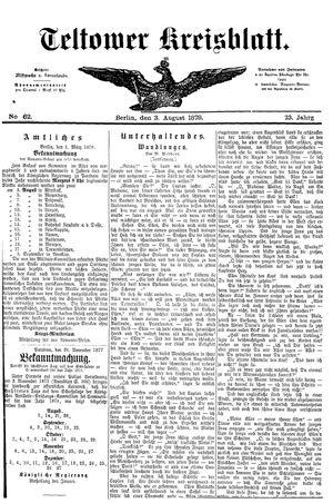 Teltower Kreisblatt vom 03.08.1878
