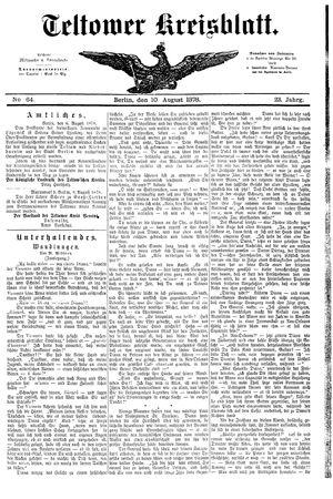 Teltower Kreisblatt vom 10.08.1878