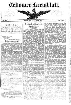 Teltower Kreisblatt vom 17.08.1878