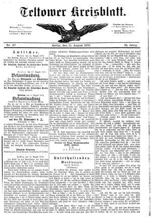 Teltower Kreisblatt vom 21.08.1878