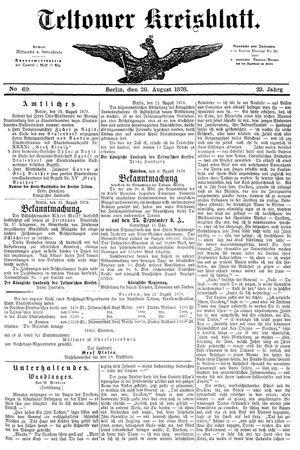 Teltower Kreisblatt vom 28.08.1878