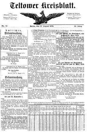 Teltower Kreisblatt vom 31.08.1878