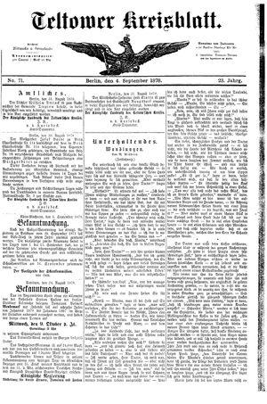 Teltower Kreisblatt vom 04.09.1878
