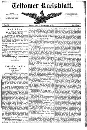 Teltower Kreisblatt vom 07.09.1878